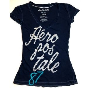 *3/$30* Navy with Sparkly Silver Aeropostale Tee